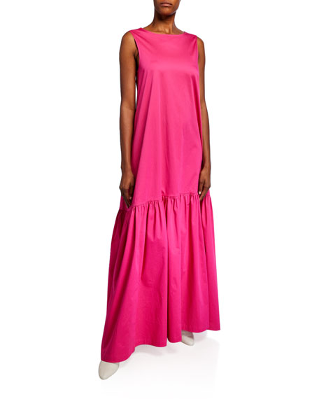 Image 1 of 2: Poplin Sleeveless Low-Back Gown
