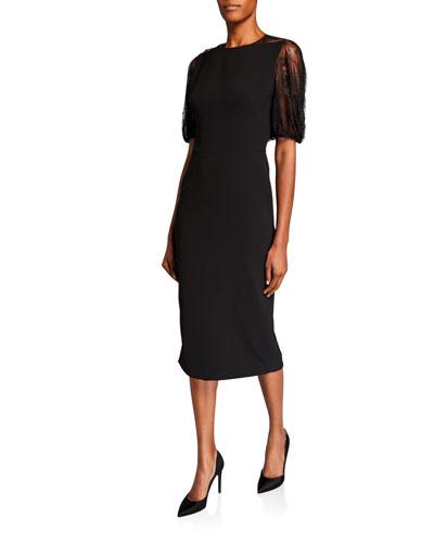 Lace-Back Blouson-Sleeve Dress