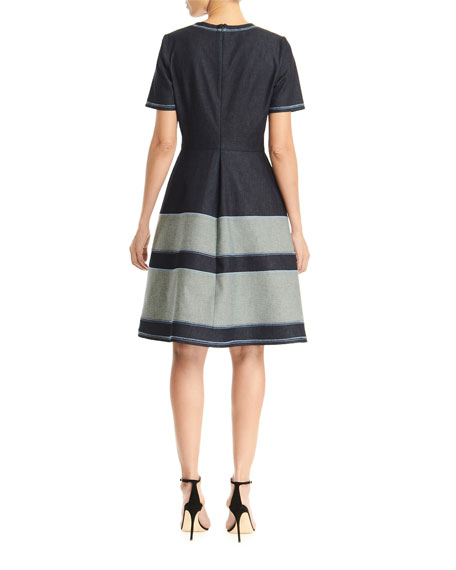 Carolina Herrera Chambray Belted A-line Dress