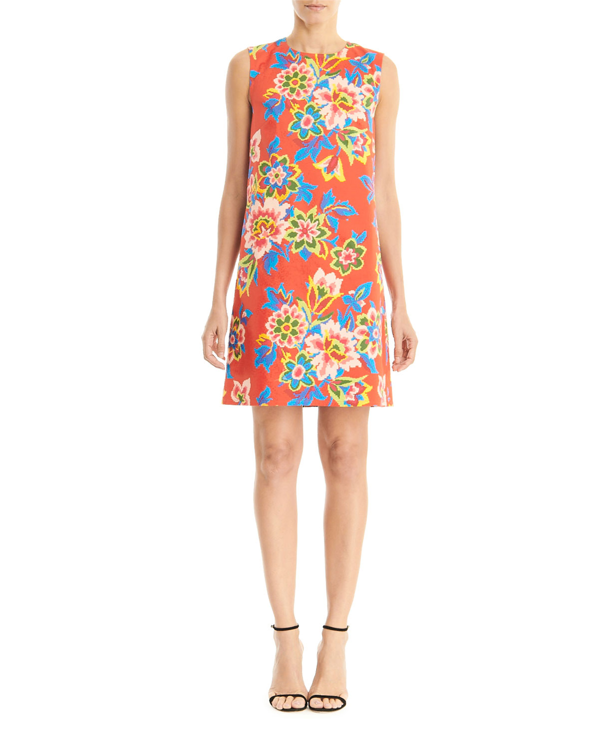 Carolina Herrera Floral Sleeveless Shift Dress