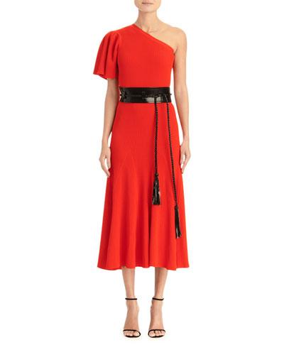 One-Shoulder Flutter Sleeve Knit Dress