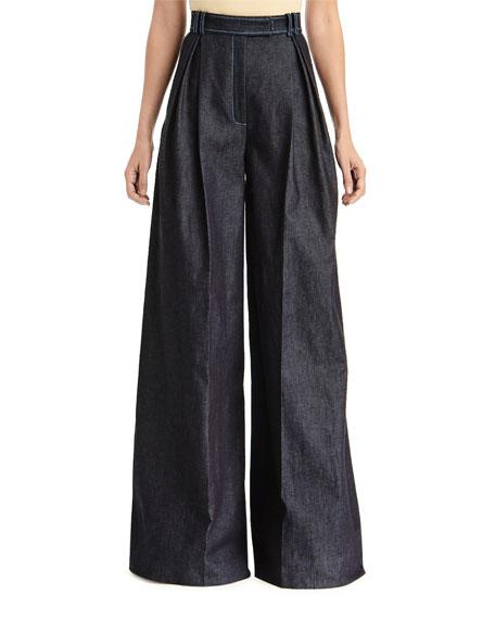 Carolina Herrera High-Rise Pleated Chambray Pants