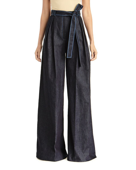 Carolina Herrera Pants HIGH-RISE PLEATED CHAMBRAY PANTS