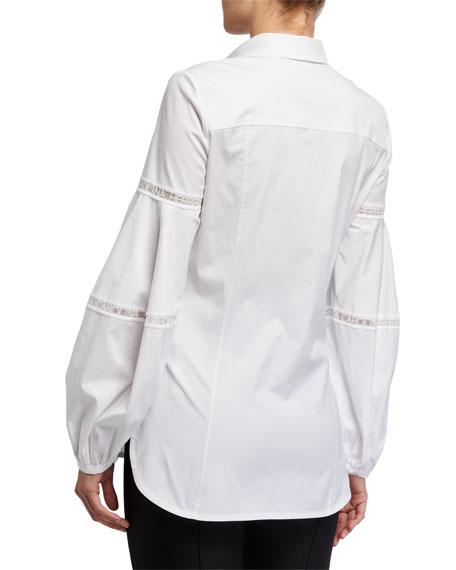 Carolina Herrera Logo-Lace Balloon-Sleeve Shirt