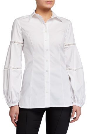 Carolina Herrera Logo-Lace Balloon-Sleeve Shirt