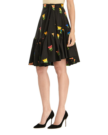 Image 3 of 3: Floral-Embroidered Side-Drape Flounce Skirt