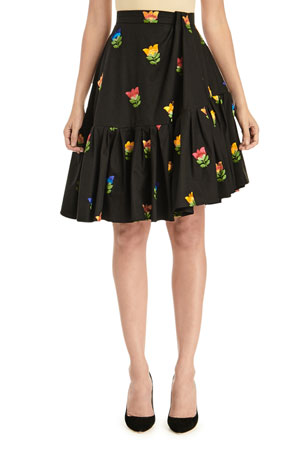 Carolina Herrera Floral-Embroidered Side-Drape Flounce Skirt