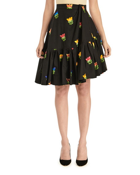 Image 1 of 3: Floral-Embroidered Side-Drape Flounce Skirt
