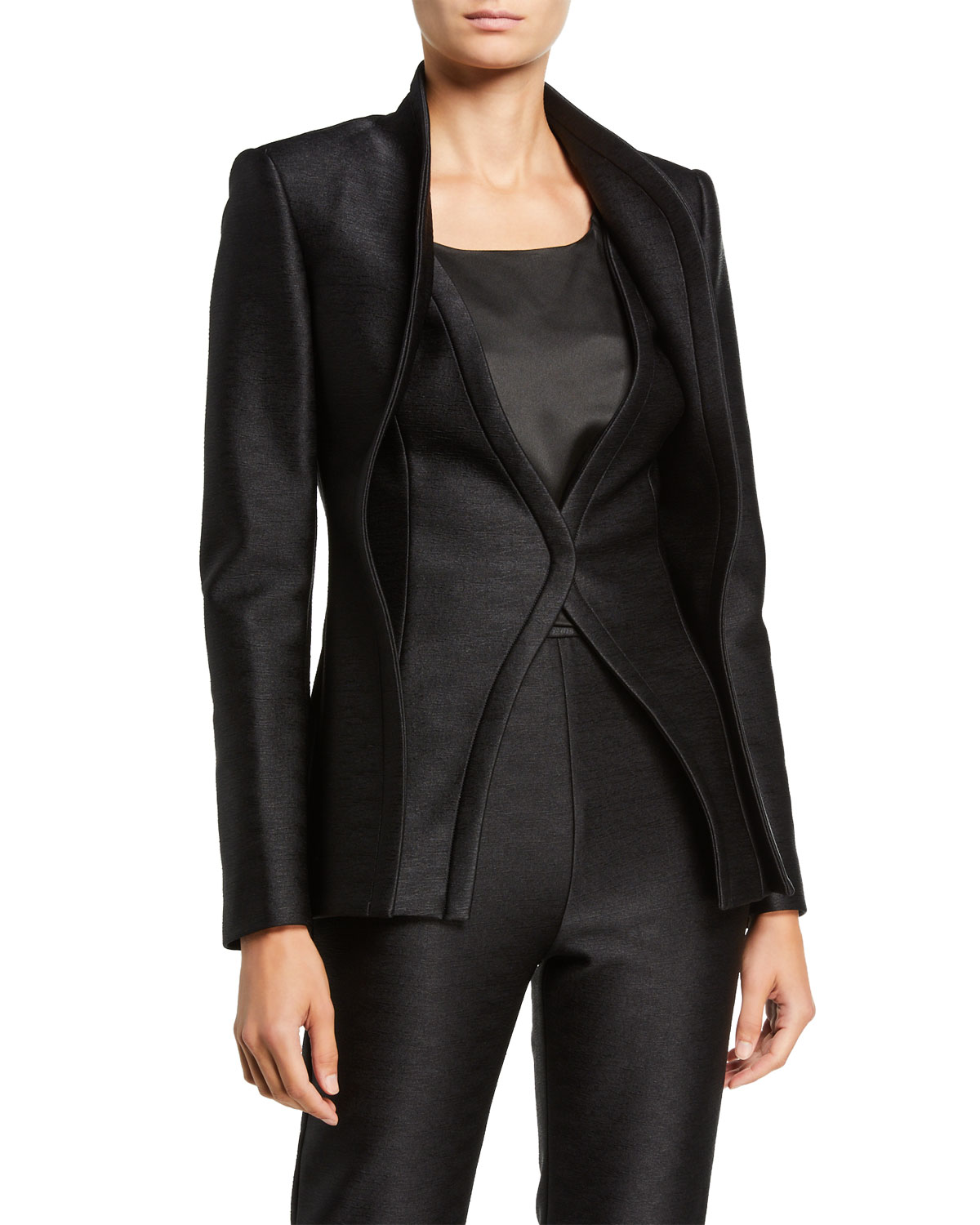 Brandon Maxwell Wave-Seam Double-Layer Jacket