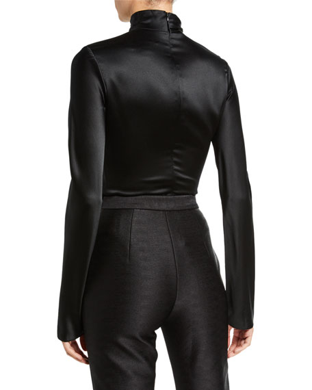Brandon Maxwell Crepe-Back Satin Draped-Neck Blouse