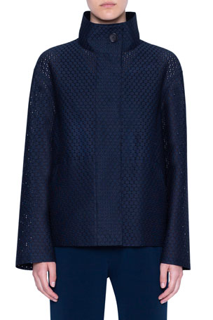 Akris punto Circle Lace Zip-Up Jacket