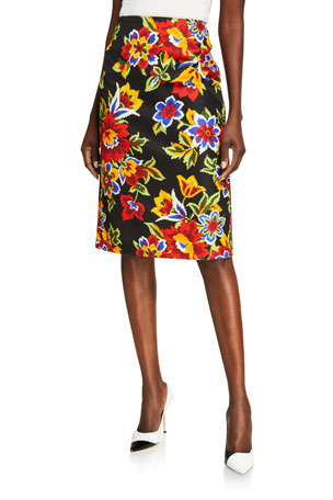 Carolina Herrera Floral Pencil Skirt