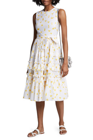 Carolina Herrera Printed Poplin Ruffle Tiered Dress