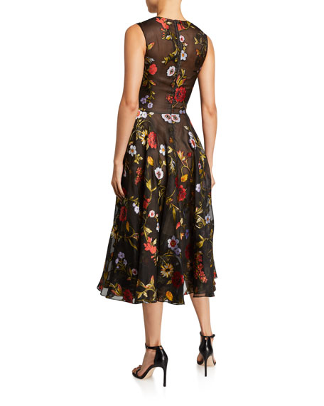 Image 2 of 2: Oscar de la Renta Sleeveless Ikat Floral Embroidered Tulle Day Dress