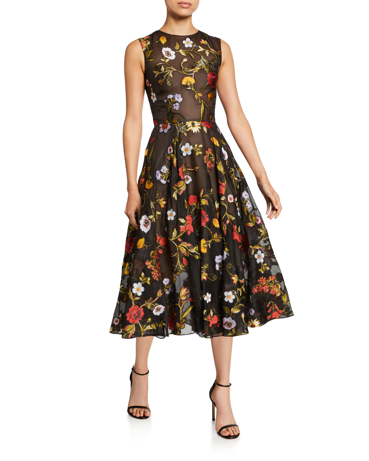 Oscar de la Renta Sleeveless Ikat Floral Embroidered Tulle Day Dress