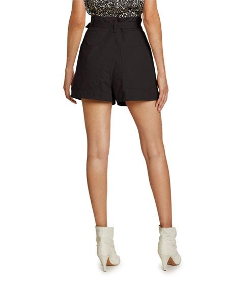 Isabel Marant Ike Belted High-Rise Cotton Shorts