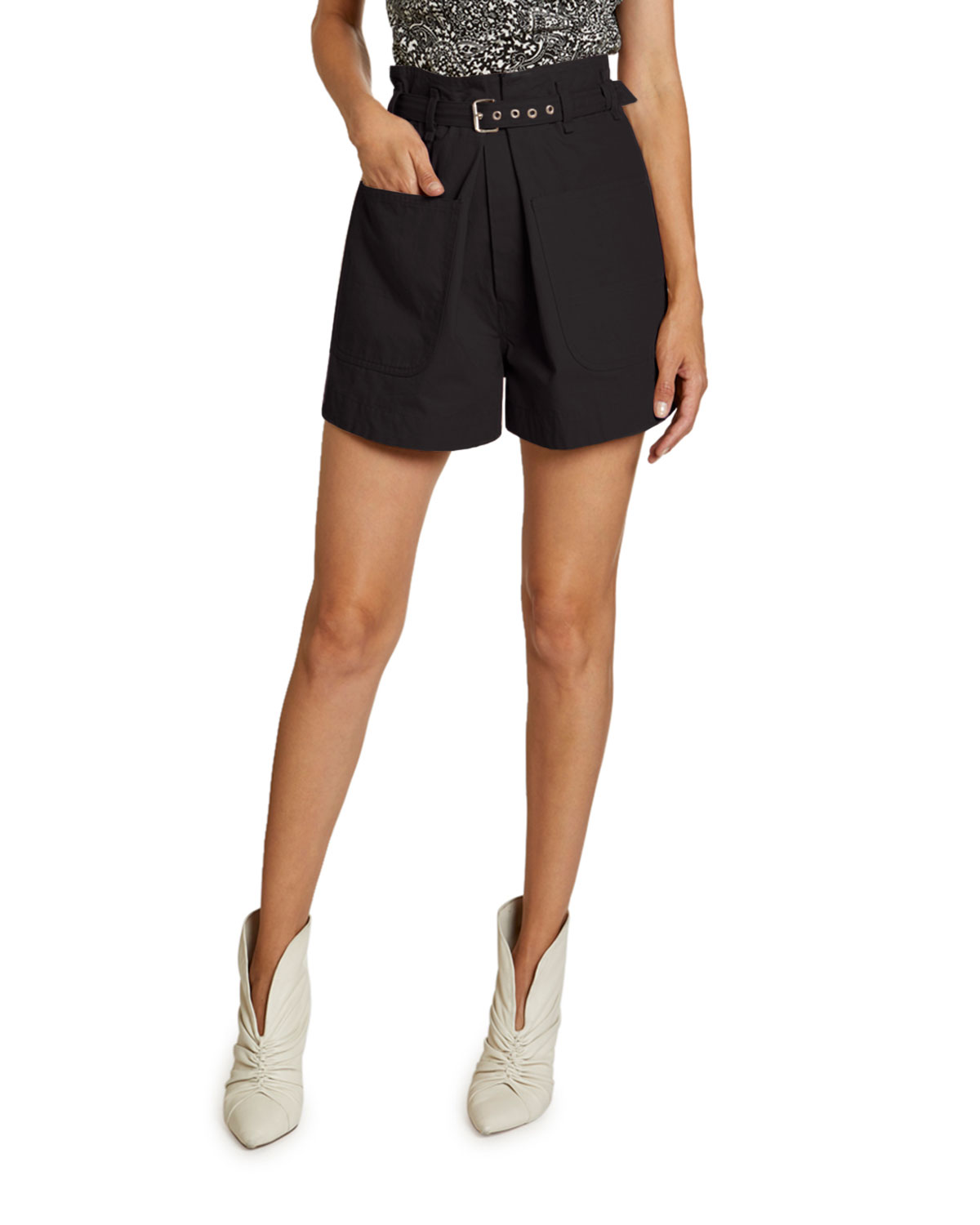 Isabel Marant Ike Belted High-Rise Cotton Shorts