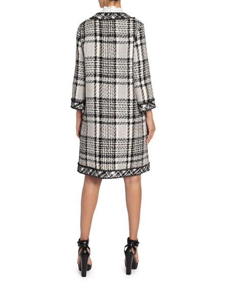 Andrew Gn Sequin-Trim Long Plaid Woven Coat