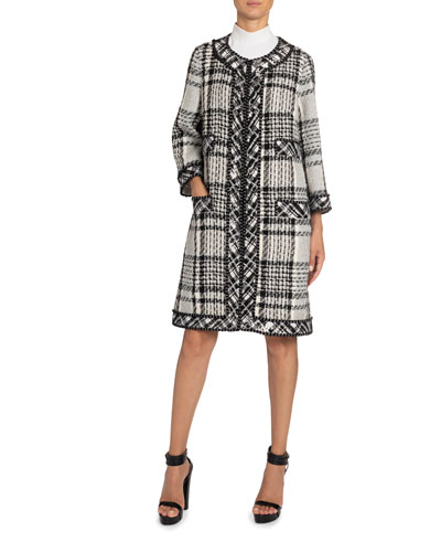 Sequin-Trim Long Plaid Woven Coat