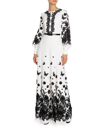 Floral Applique Zip-Neck Gown