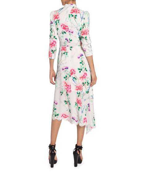 Image 2 of 2: Andrew Gn Floral-Print Mock-Neck Asymmetric Dress