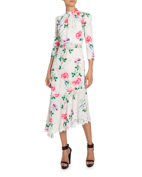 Image 1 of 2: Andrew Gn Floral-Print Mock-Neck Asymmetric Dress