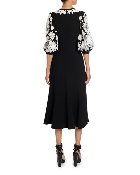 Image 2 of 2: Andrew Gn Floral Applique Crepe Midi Dress