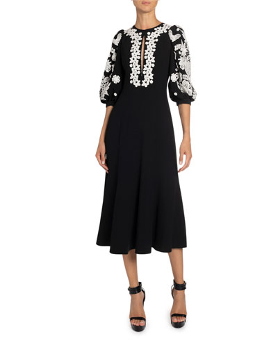 Floral Applique Crepe Midi Dress