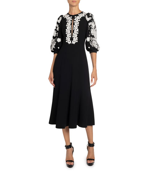 Image 1 of 2: Andrew Gn Floral Applique Crepe Midi Dress