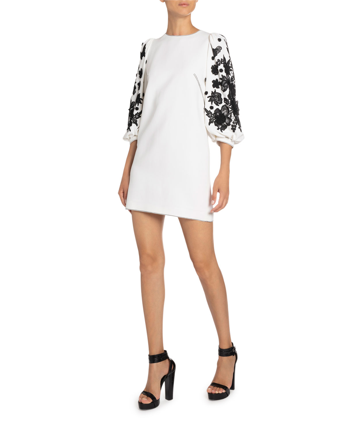 Andrew Gn Lace-Trim Balloon-Sleeve Mini Dress