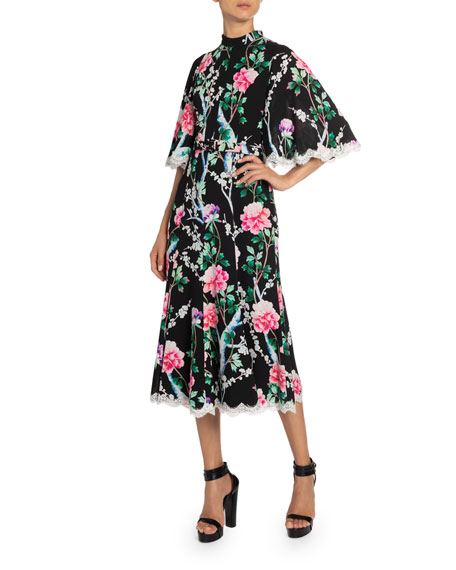 Andrew Gn Lace-Trim Floral Midi Dress
