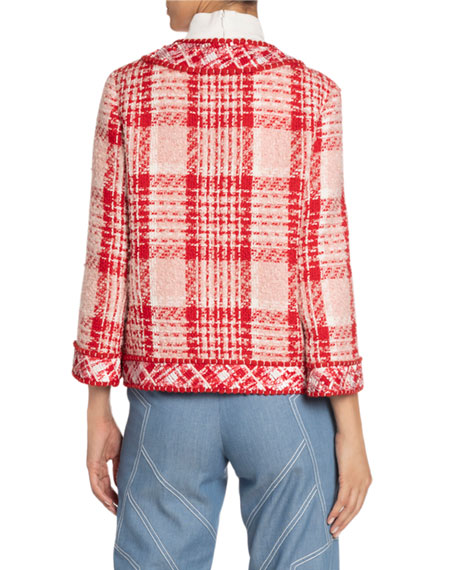 Andrew Gn Boxy Plaid Woven Jacket
