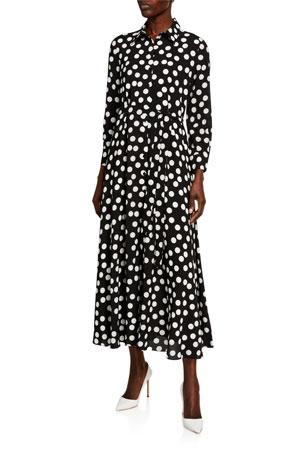 Carolina Herrera Polka-Dot Tie-Waist Shirtdress