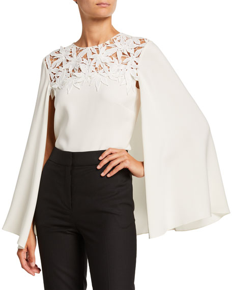 Oscar de la Renta Maple Leaf Embroidered Stretch Silk Blouse w/ Cape