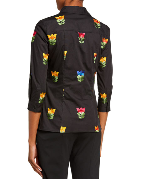 Image 2 of 2: Floral-Embroidered Classic Shirt