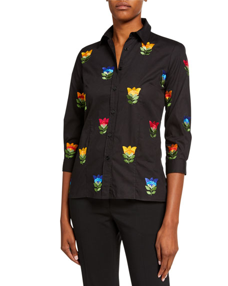 Image 1 of 2: Floral-Embroidered Classic Shirt