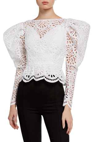 Carolina Herrera Dramatic Puff-Sleeve Lace Blouse