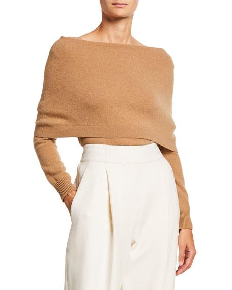 Oscar De La Renta Sweaters FOLD OVER OFF-THE-SHOULDER LONG-SLEEVE CASHMERE SWEATER