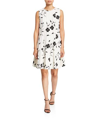 Flower Pleated Sleeveless A-Line Dress