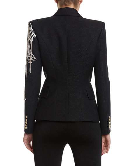 Balmain Chain-Embroidered Double-Breasted Blazer