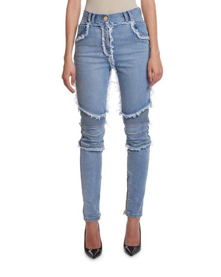 Balmain High Rise Frayed-Seam Skinny Jeans