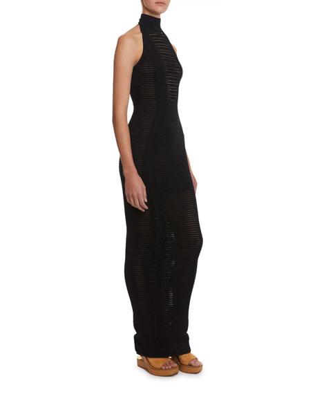 Balmain Dresses LONG TRANSPARENT-STRIPED BODYCON HALTER DRESS