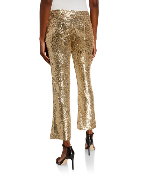 Image 2 of 3: Balmain Low-Rise Sequined Flare Pants