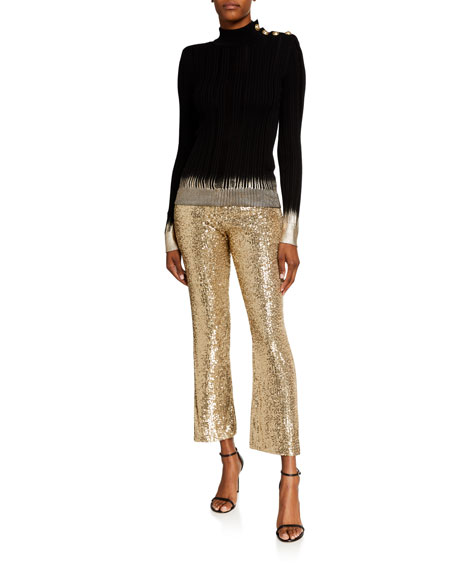 Image 3 of 3: Balmain Low-Rise Sequined Flare Pants
