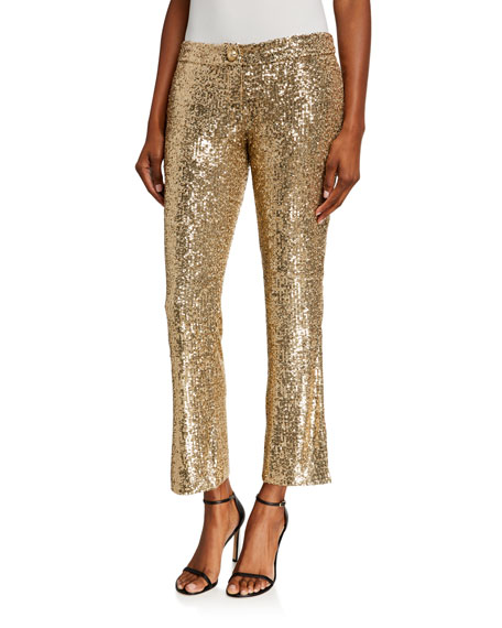 Image 1 of 3: Balmain Low-Rise Sequined Flare Pants