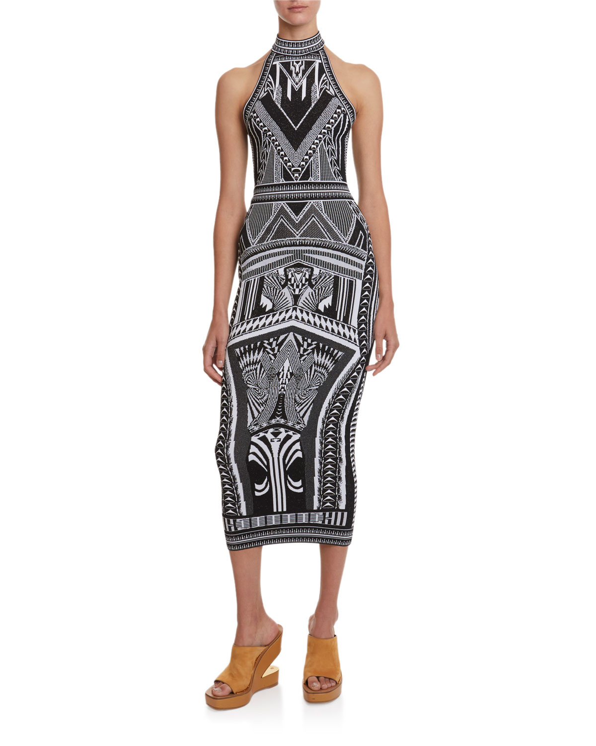 Balmain Halter Bodycon Jacquard Dress