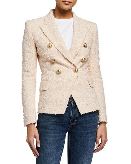 Balmain 6-Button Boucle Tweed Double-Breasted Blazer Jacket