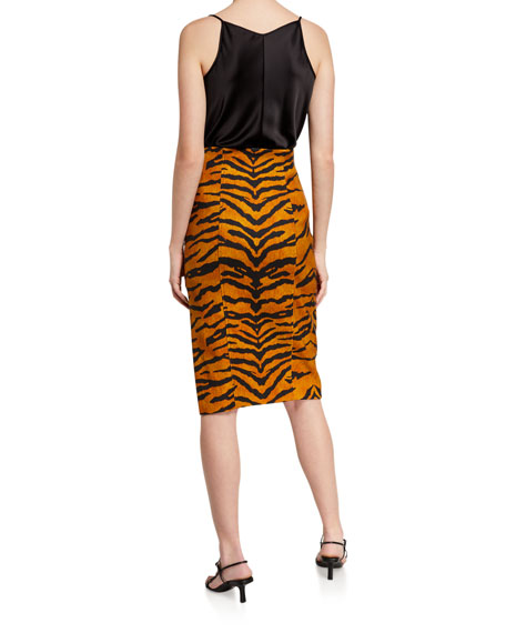 Image 2 of 3: Tiger Striped Pencil Skirt