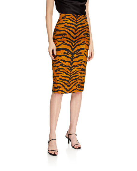Image 1 of 3: Tiger Striped Pencil Skirt
