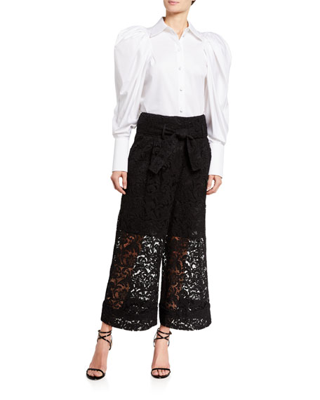 Image 3 of 3: Adam Lippes Corded Lace Culottes